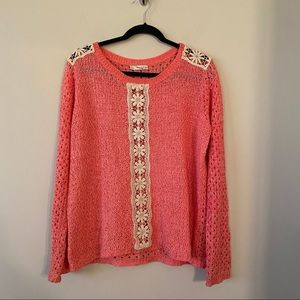 Hinge-Pink/Cream Mixed Knit Pullover Sweater